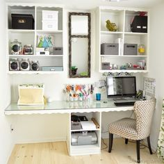 Michelle - Blog #Before&After - #Office/Craft Room #Reveal Fonte : http://cleverlyinspired.com/2013/03/officecraft-room-reveal/