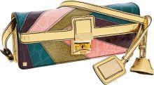 "Luxury Accessories:Bags, Valentino Shiny Multicolor Crocodile & Gold Lizard ShoulderBag. Excellent to Pristine Condition. 10.5"" Width x 4""Hei..."