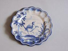 Blue and Gray Spanish Talavera Plate. Circa 1920. Faience Majolica Pottery. Bird. Spain.