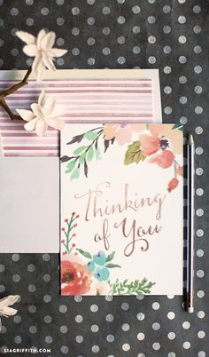 Watercolor Flower Thinking of You Card