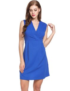 ACEVOG Womens Casual V-Neck Sleeveless Solid Pleated Slim A-Line Fit and Flare Cocktail Dress,AMH008503