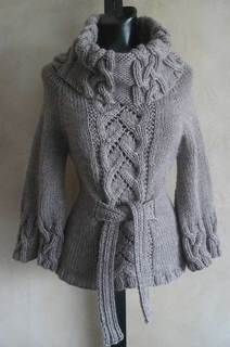 #90 Chic Cables and Lace Cowl Neck Sweater PDF Knitting Pattern #knitting #SweaterBabe.com