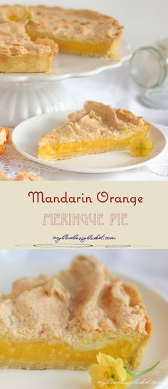 The mandarin orange pie with a meringue topping is perfect for the winter, when the delicious fruits offer their full flavor and make a delightful mandarin orange curd. Citrus Recipes, Orange Recipes, Pie Recipes, Dessert Recipes, Cooking Recipes, Mandarine Recipes, Blueberry Salad, Meringue Pie, Delicious Fruit