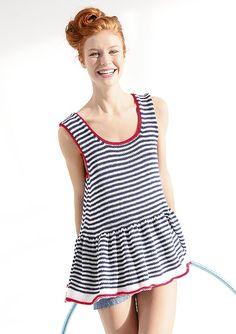 Weites Ringeltop in Blau, Weiß und Rot, stricken mit Rebecca - mein Strickmagazin und ggh-Garn COTTINA (100% Baumwolle). Garnpaket zu Modell 8 aus Rebecca Nr. 58