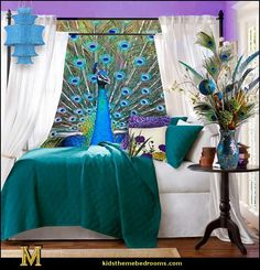 Image from http://1.bp.blogspot.com/-QJNXO3uUMng/UjLelylkBMI/AAAAAAAAP4c/rp2iXyuGdB8/s1600/peacock+theme+bedroom+decorating+ideas-maries+manor+theme+bedrooms.jpg.