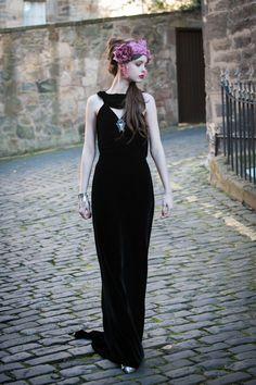 Velvet Backless Evening Dress