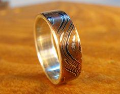 Silver Ring- Mokume Gane Wave Ring. via Etsy.  *Loving the Mokume Gane metal technique! ~r0x~