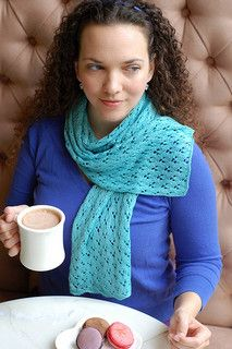 Springtime in Paris! This lightweight, lace scarf is the perfect thing to wear as you stroll Le Petit Pont or enjoy lunch at the cafe. Requiring just one skein of fingering weight yarn, there are two different sizes. The pattern features an easy 8-stitch repeat that features lace only on the right side rows, making this pattern very easy to adjust for a wider or longer scarf.