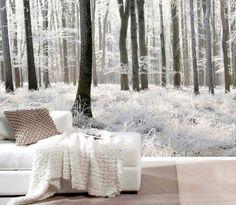 poster mural trompe l'oeil Forêt hivernale dans le salon scandinave en blanc