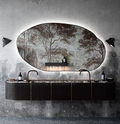 bathroom with wallpaper tree mural designed by Katarina Rulinskaya. / sfgirlbybay