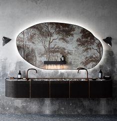 bathroom with wallpaper tree mural designed by Katarina Rulinskaya. / sfgirlbybay
