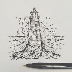 Art Inspo, Kunst Inspo, Cool Drawings, Drawing Sketches, Ink Drawings, Sketching, Stylo Art, Lighthouse Drawing, Art Du Croquis