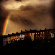 greeting blank card rainbow over Upper Street by lovejonespaper