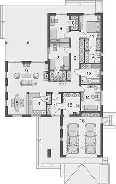House Layout Plans, House Layouts, House Floor Plans, Architect House, Garage Organization, Planer, Villa, Construction, Flooring