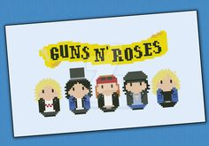 Mini People - Guns N' Roses cross stitch by cloudsfactory on DeviantArt
