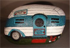 Vintage Travel Trailer RV hand-painted rock. $25.00, via Etsy.