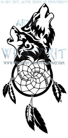 Dream catcher and wolf tattoo <3