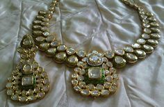 A Beautiful gold kundan polki necklace with earrings