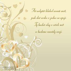 Svatební verš: Až uslyšíš hlahol zvonů znít... Motto, Place Cards, Place Card Holders, Poster, Mottos, Billboard