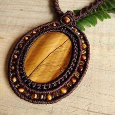Macrame Necklace Pendant Cabochon Tiger Eye Stone Cotton Waxed Cord Handmade…