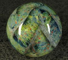 """Mad Man Marbles 2 1 4"""" Multi Color Lobed Etched Planet Marble 