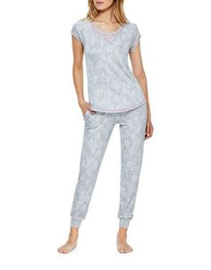 Kensie Short Sleeve Pajama Set Women's White/Animal Small