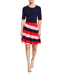 Shop Fenna 2 Stripe Sweaterdress from Trina Turk at Neiman Marcus Last Call, where you'll save as much as on designer fashions. Half Sleeves, Dresses With Sleeves, Trina Turk Dresses, Bell Sleeve Dress, Fit And Flare, Beautiful Dresses, Dress Outfits, Dresses For Work, Clothes For Women