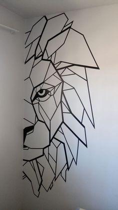 Tape Art, Tape Wall Art, Bedroom Wall Designs, Wall Art Designs, Paint Designs, Wall Painting Decor, Diy Wall Decor, Wall Paintings, Faux Painting