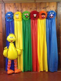 Sesame Street photo backdrop R elmo O ernie Y bert G oscar B cookie V count Monster Birthday Parties, Elmo Party, 1st Boy Birthday, First Birthday Parties, Birthday Party Decorations, First Birthdays, Sesame Street Birthday Party Ideas, Birthday Ideas, Festa Cookie Monster