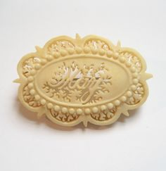 Victorian Carved Bone Name Brooch MAY Possibly Ivory by Elsewind