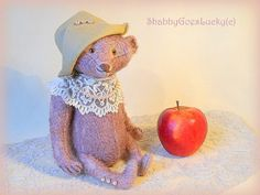 Artist teddy bear ooak handmade antique looking lilac mohair bear, fully disk jointed heavy aged shabby bear with hat, pearls & lace collar