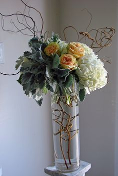 Peach Centerpiece Samples - Tall and Low - EH Floral