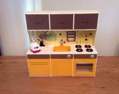 vintage sindy doll furniture. The sink used to work and the food mixer too