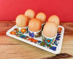 Vintage Acapulco 6 egg cups set with tray by Retromania1331