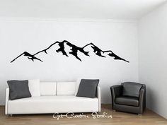 9 Foot Large Mountain Decal Rocky Mountains Wall Decal Outdoor Decor Wilderness Wall Art Mountain Scene Nature Wall Decal Snowy Mountains