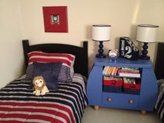 My boys room Blue red grey stripes
