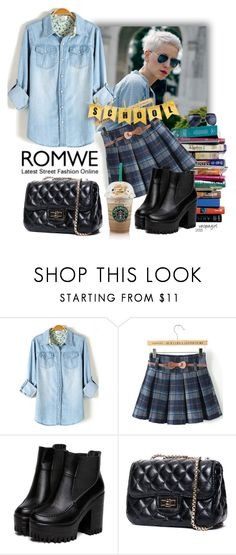 """Bleached Denim Blouse - Romwe.com Contest"" by vespagirl ❤ liked on Polyvore featuring 7 For All Mankind, denim and romwe"
