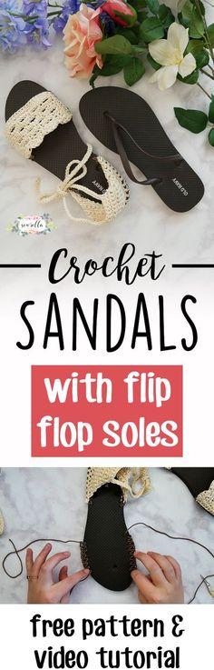 Tutorial y vídeo cómo hacer sandalias a crochet con suela de chanclas.