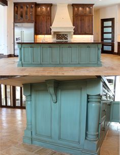 How to: Paint cabinets (secrets from a professional). All the tips and tricks you will ever need to know, straight from a faux painter. Gorgeous, giant  turquoise island, with antique glaze finish. Theraggedwren.blogspot.com Kitchen Island From Cabinets, Kitchen Ideas With Brown Cabinets, How To Build Kitchen Island, Antiqued Kitchen Cabinets, Antique Glazed Cabinets, Kitchen Island Finishes, Antique Kitchen Island, Kitchen Island Furniture, Kitchen Island Makeover