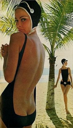 1960s low cut bathing suits.