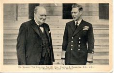 Britain's King George VI with Hon.Winston Churchill (later Sir Winston) on VE-day at Buckingham Palace, London. George Vi, Winston Churchill, Interwar Period, Old Postcards, Buckingham Palace, British Royals, England, Great Britain, Celebrities