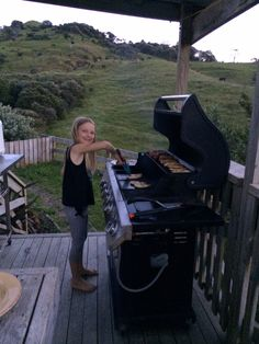 Lainey doing BBQ for us