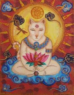 Cloudy Buddha Cat Print