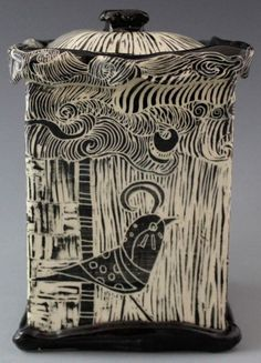 Patricia Griffin. Beautiful example of sgraffito. We have engobes in the glaze closet that are available if anyone wants to try this!