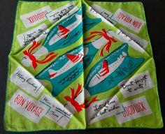 Vintage Tammis Keefe Bon Voyage Lime Green Airplanes Graphics Printed Hanky