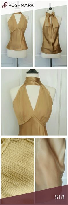 Limited Gold Silk Halter Top Gold 100% silk top from Limited. Halter neck ties in back. Small mark on lower left back, as well as front right bust, both shown in 3rd picture. Limited Tops