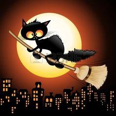 Halloween do gato preto dos desenhos animados de v Banco de Imagens
