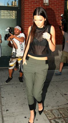08.28.14: Kendall leaving Kanye's apartment in Soho, NY