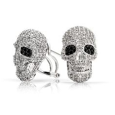 Bling Jewelry Pave CZ Gothic Skull Stud Earrings Omega Back Rhodium Plated >>> Want to know more, click on the image.