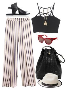 """""""Striped"""" by yiotakio ❤ liked on Polyvore featuring H&M, With Love From CA, House of Harlow 1960, Vince Camuto, Gareth Pugh, People Tree, women's clothing, women, female and woman"""